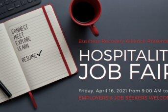 Hospitality Job Fair April 16 @ 9:00AM - Business Recovery Alliance